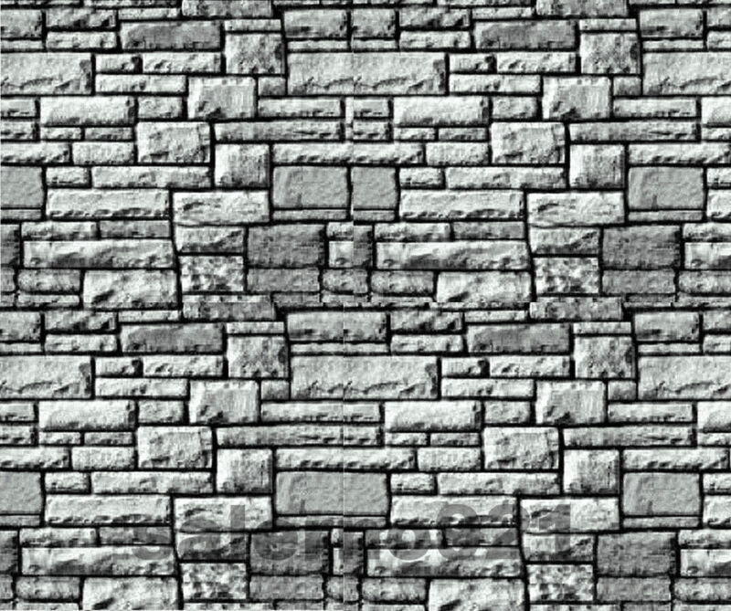 SET  OF TWO (2) BLACK/WHITE COLOR  STONE WALL DECAL 1:18 Scale Diorama