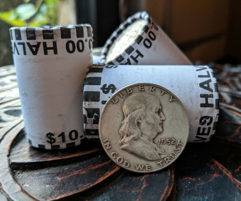 90% Silver Franklin Half Dollar Coin AND Unsearched Kennedy Bank Roll ($10 FV)