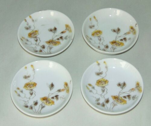 4 ANTIQUE LIMOGES Butter Pats DELICATE YELLOW MORNING GLORIES