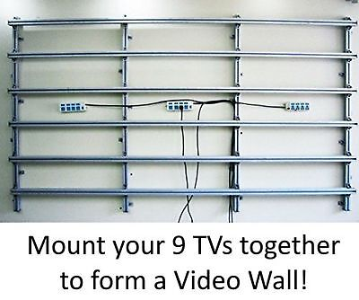 3x3 Video Wall Mount Fixed Display with Micro Adjustment Arms Vesa Universal ...