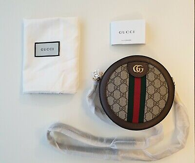 Gucci Red And Green Stripe Leather Round Mini Cross Body Bag