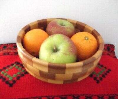 Vintage 1960's Burnt orange Patchwork Fruit Bowl Wooden,Fruit Bowl,vintage bowl