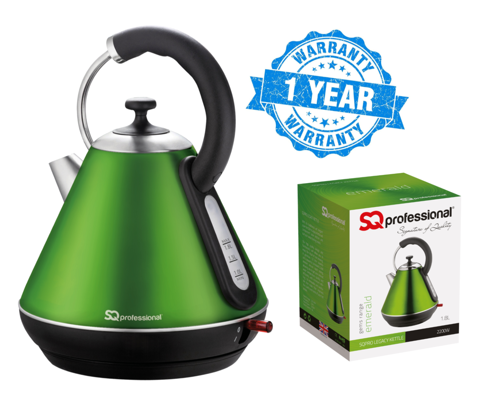 Emerald Green 2200W 1.8L Fast Boil Legacy Cordless Electric Kettle