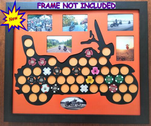 50 Poker Chip Display Frame Insert Fits Harley Davidson/Casino Chips & Photos