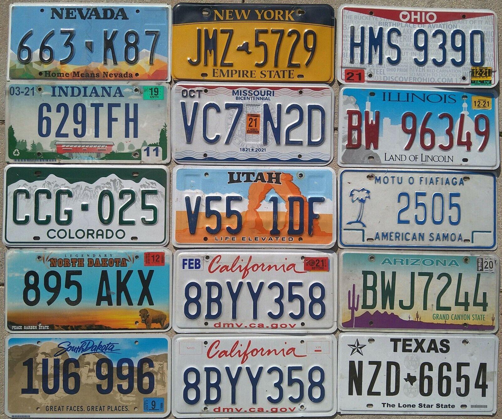 15 USA Nummernschilder Kennzeichen inkl New York, Indiana, North + South Dakota