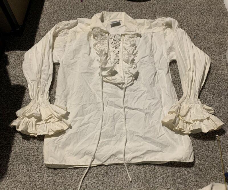 Women Renaissance Irish Overdress Medieval Nightdress Pirate Costume White Shirt