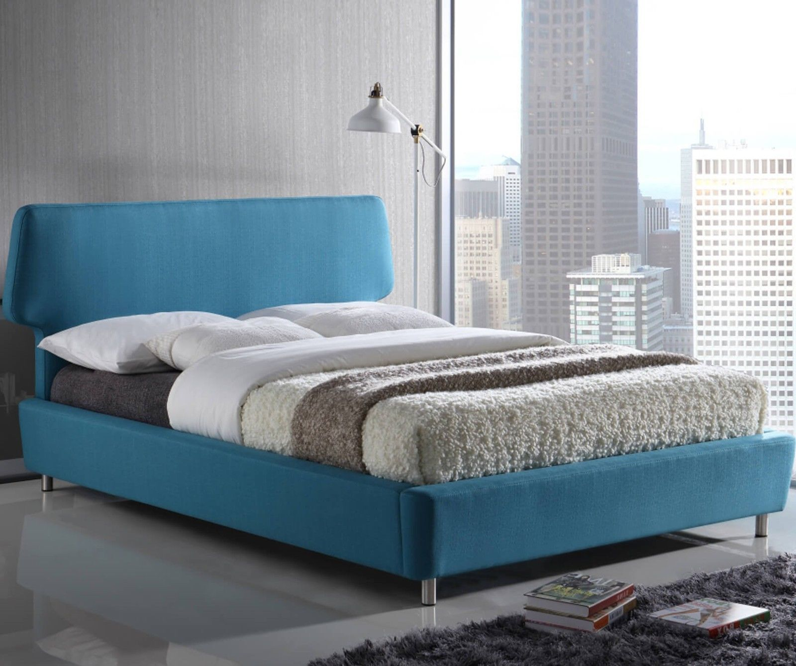 Sienna Blue Fabric Bed Frame Modern Style Curved Headboard Double King Size Ebay