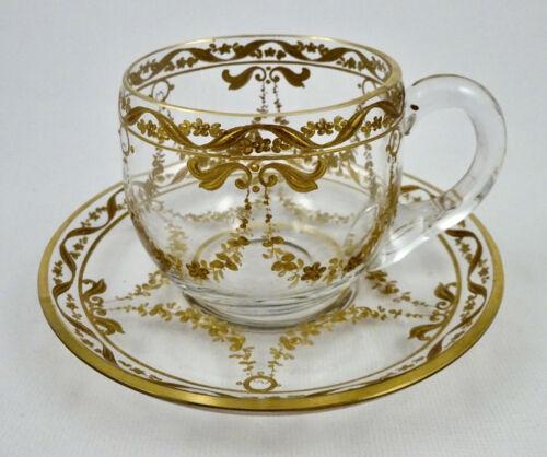 Antique Crystal Demitasse Cup & Saucer, Gold Enamel