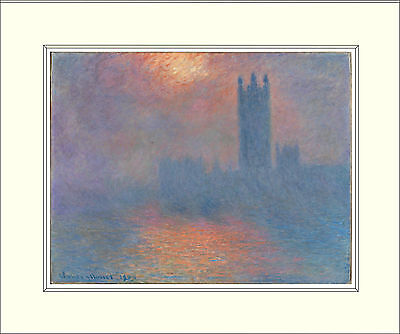 Monet Houses of Parliament, London 10 x 8 Inch Mounted Art Print