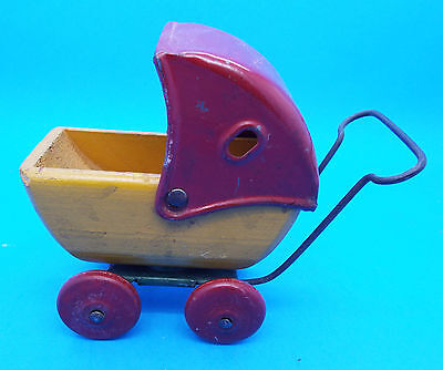 Vintage Wood & Metal Toy Baby Doll Stroller / Carriage / Buggy