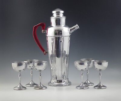 ART DECO CHROME MARTINI SET PITCHER AND 6 GOBLETS RED LUCITE HANDLE