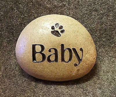SMALL MEMORIAL DOG or CAT ENGRAVED STONE PERSONALIZED NAME & PAW 3