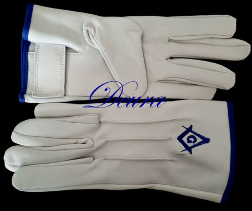 Masonic EMBROIDERED White LAMB SKIN SOFT Gloves Blue G Square & Compass XL SIZE