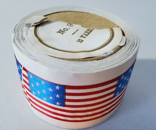 ORIGINAL ANTIQUE SILK FLAG RIBBON 10 YD COMPLETE GAR CIVIL WAR VETERANS USE 1.5  - $140.00