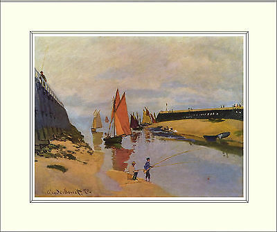 Monet Port of Trouville 10 x 8 Inch Mounted Art Print