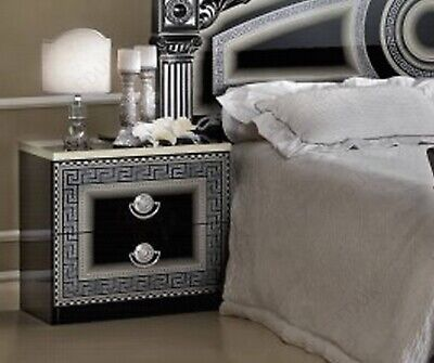 Italian Greek Key Versace Bedside Cabinet set in Black and Silver