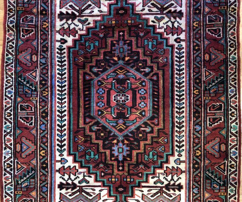 Terrific Tribal - 1940s Antique Oriental Rug - Nomadic Carpet - 4.3 X 7.9 Ft.