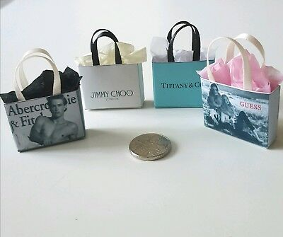 Miniature Dolls House 4 x  Designer  Shopping Bags 1.12 Scale