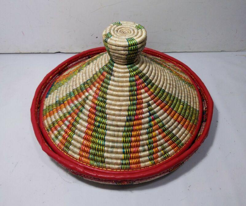 Vintage Ethiopian Mesob Large Hand Made Woven African Food Serving Basket + Lid