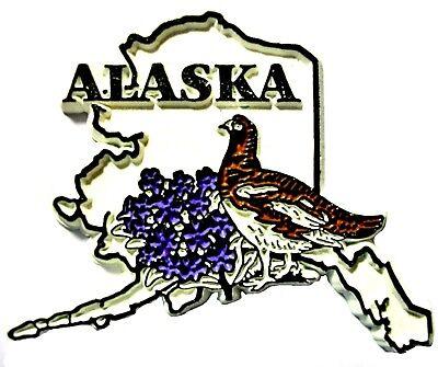 Alaska State Outline with Willow Ptarmigan Bird Fridge Magnet