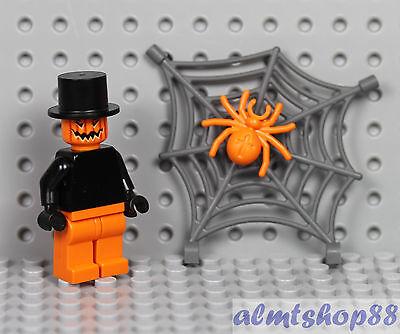 LEGO - Pumpkin Man Minifigure w/ Spider Net - Halloween Zombie Jack O' Lantern