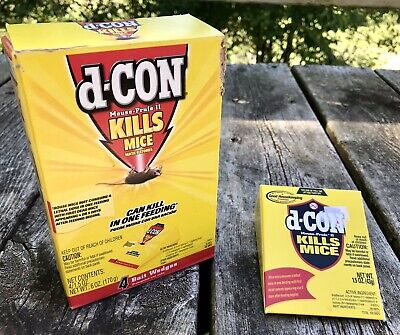D-Con Mouse Prufe II (2) ~ Box of 4 + Extra 1.5oz Poison Bait Wedges Brodifacoum