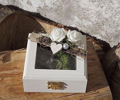 Ringkissen Ringbox Ringhalter eckig mit Sichtfenster Holz weiß für Eheringe