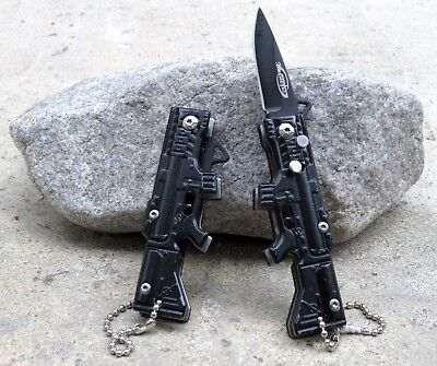 - Black Small Mini Machine Gun Keychain Button Lock Spring Assisted Pocket Knife