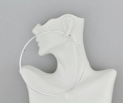 Silver hoop earrings Big Huge Giant 4.25