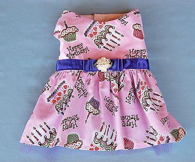 Pretty Pink Happy Birthday Print Dog Dress XS-M USA Made  Dogs, Puppies, Cats