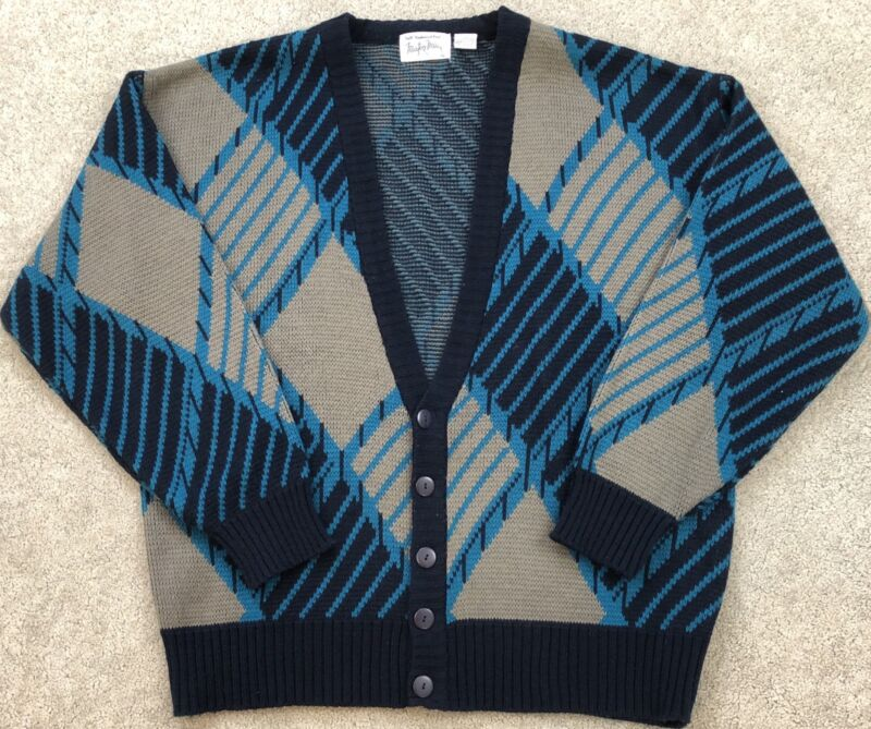 True Vtg 60s Atomic Sweater Mens XL Boyfriend Grandpa Cardigan Hipster Ugly