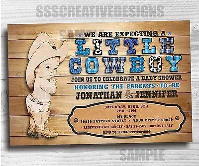 Baby Shower Boy Invitation Little Cowboy Western Printed Digital Set of 10 - Western Baby Shower Invitations