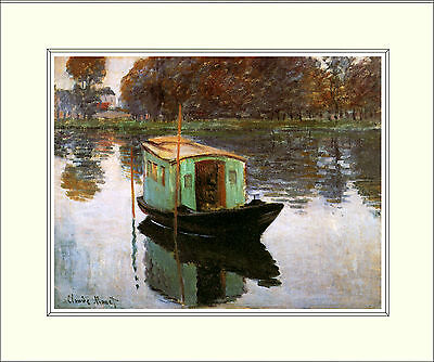 Monet The Studio Boat 10 x 8 Inch Mounted Art Print