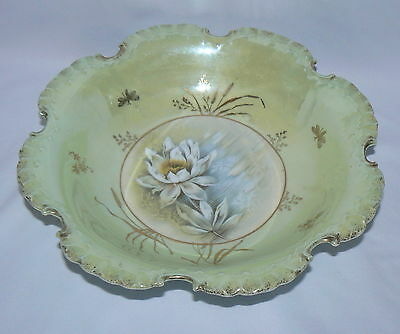 "Rare c1900 Rosenthal China RC Monbijou Bavaria Lotus Pattern 10"" Porcelain Bowl"