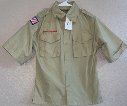 BSA Khaki Youth Short Sleeve Shirt Size Medium Used 1_F4