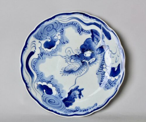 Japanese Beautiful  Sometsuke Plate Dragon design with signed box   AA87