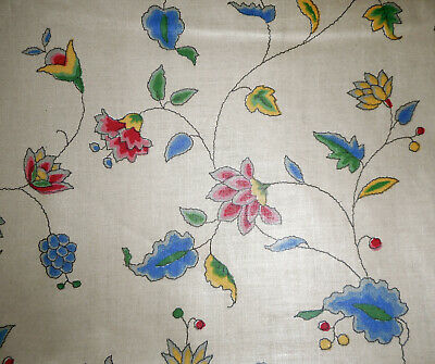 Antique English  Indienne Floral Chintz Fabric ~ Blue Pink Yellow Green - English Floral Chintz