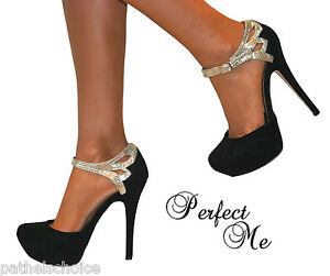LADIES-BLACK-GOLD-GLITTER-SUEDE-STRAPPY-SANDALS-PLATFORMS-HIGH-HEELS-COURT-SHOES