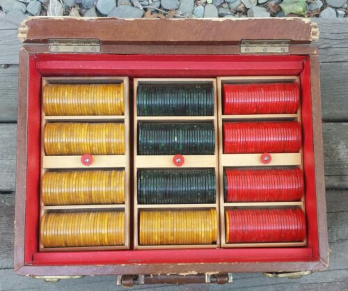 Bakelite Catalin Swirl Marbled Vintage Green Red Butterscotch Poker Chips