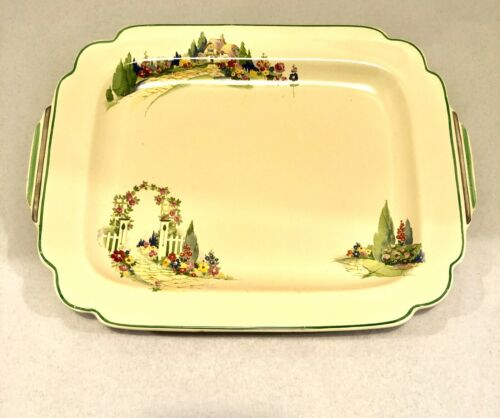 "Homer Laughlin Wells - English Garden - 12"" Platter 1930""s"