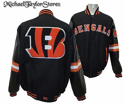 Cincinnati Bengals Men M, L, XL Reversible Wool Body w/ Leather Jacket NFL - Cincinnati Bengals Nfl Leather