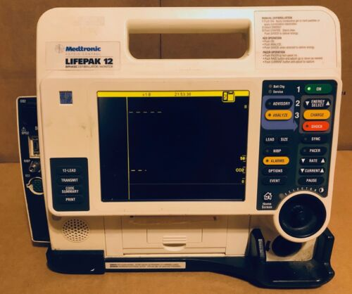 Lifepak 12 Monitor with 12 Lead, SPO2, NIBP, CO2, AED, Pacing Loaded
