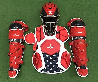 All Star System 7 Axis Youth 10-12 USA Catchers Gear Set - Red White Blue All Star Catchers Gear