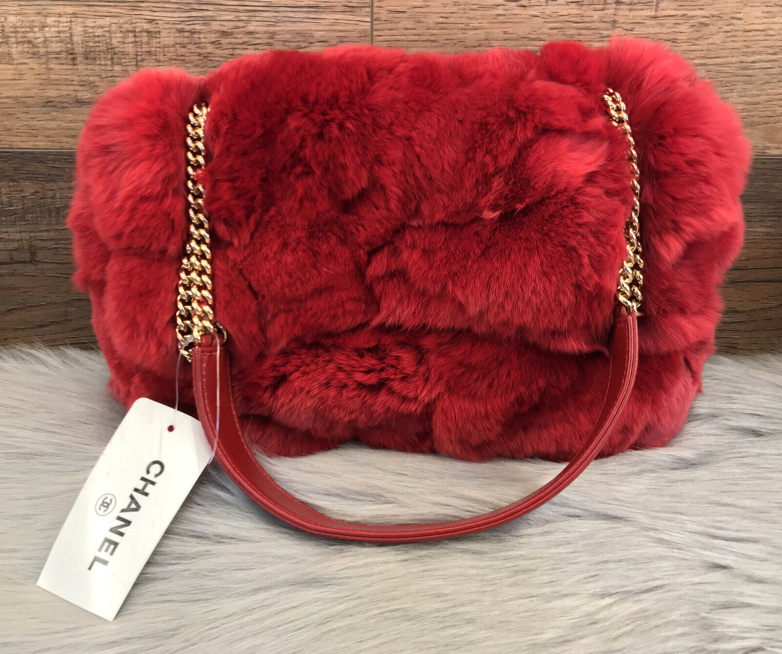 NWT Chanel Red Rabbit Fur Classic Limited Edition Shoulder Bag wCOA