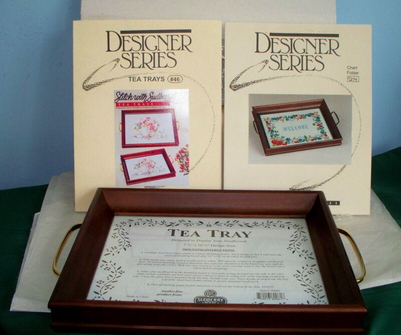NEW SUDBERRY HOUSE WOODEN MEDIUM TEA TRAY FOR CROSS STITCH W/CHOICE OF CHART