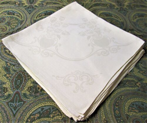 DERRYVALE 8 Pastel Yellow Linen Damask Napkins Bowls of Tulips Scrollwork