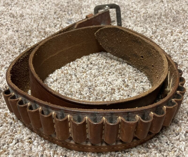 Vintage RD Makers Leather Cowhide 24 Round Ammo Belt El Paso Texas TX USA