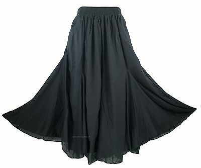 Gypsy Maxi - Black Women Cotton BOHO Gypsy Long Maxi Godet Flare Skirt 1X 2X 18 20