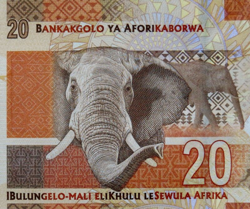 SOUTH AFRICA Paper Money 20 Rand Banknote 2014 Elephant Mandela Series