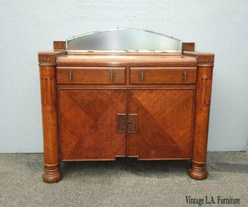 Antique Art Deco Oak Sideboard Server Waterfall Edge with Side Cabinet & Mirror